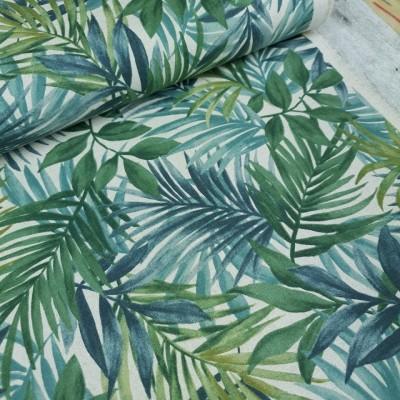 Reststück 40cmx112cm - Canvas Palm Leaves - blue