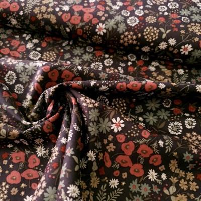 Baumwoll Voile - Meadow Flowers - dunkelrot