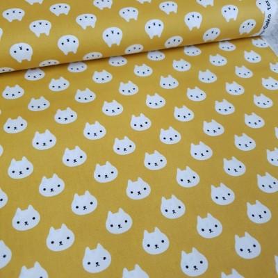 Baumwollstoff Kitty - Stenzo - gelb