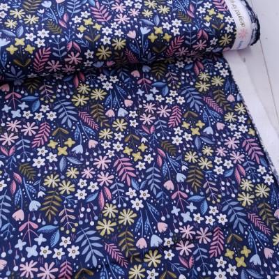 Baumwollstoff Springflowers - navy