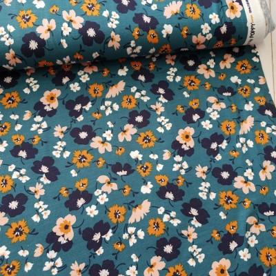 Tencel Modal Jersey Flowers - petrol