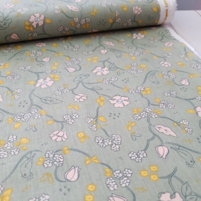 Bio Baumwollstoff Little Bird - dusty mint