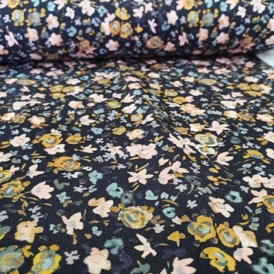Baumwolljersey Flowers - dunkelblau
