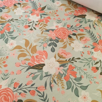 MYO Design - Heavy Canvas - Wildflowers Bouquets - mint
