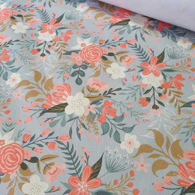Reststück 34cmx145cm - MYO Design - Heavy Canvas - Wildflowers Bouquets - hellgrau