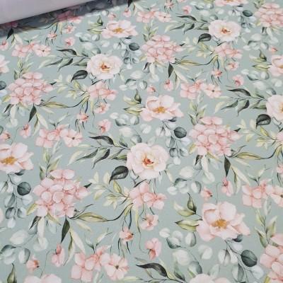 Reststück 60cmx145cm - MYO Design Twill - Hydrangea Bouquets - light euca