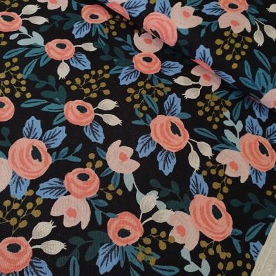 Reststück 45cmx112cm - Cotton+Steel Canvas - Garden Party - Rosa unbleached black