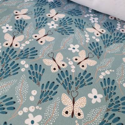 MYO Design Twill - Butterfly Meadow - hellblau