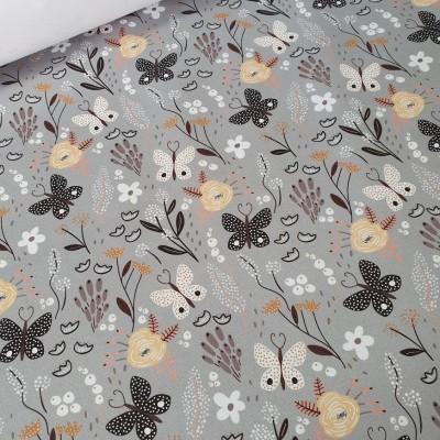 MYO Design Twill - Schmetterlingswiese - hellgrau