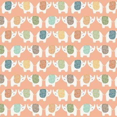 Makower - Jungle Elephants - pink