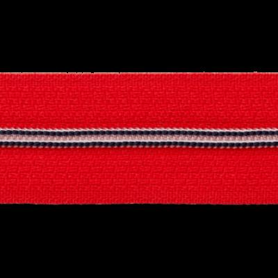 Roter Endlos-Reissverschluss mit navy-weißer Zähnchenraupe