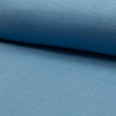Glattes Bündchen uni dusty blue im Schlauch - Ökotex