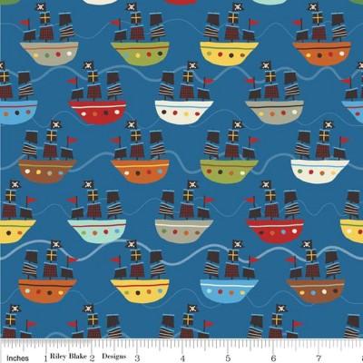 """Riley Blake """"Treasure Map"""" Schiffe auf blauem Grund"""