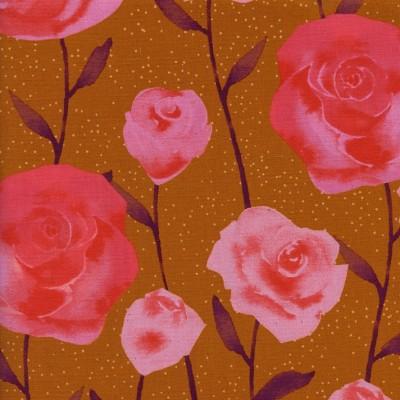 Reststück 89cmx112cm - Cotton and Steel - Firelight - Roses caramel