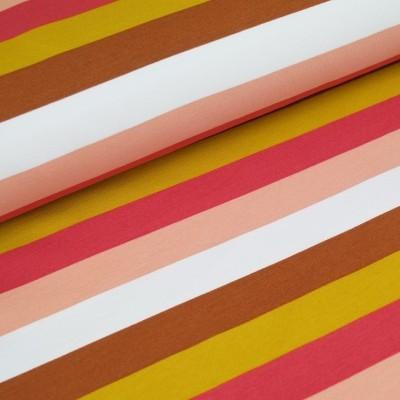 French Terry Blockstripe - rose-senf