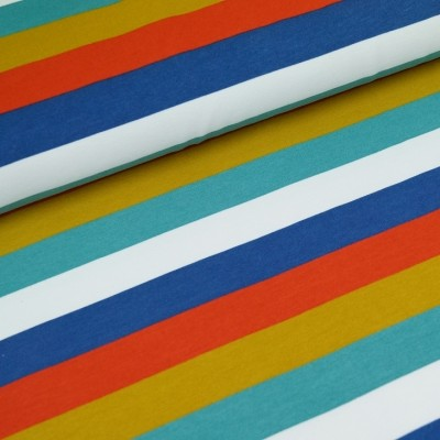 French Terry Blockstripe - blau-senf