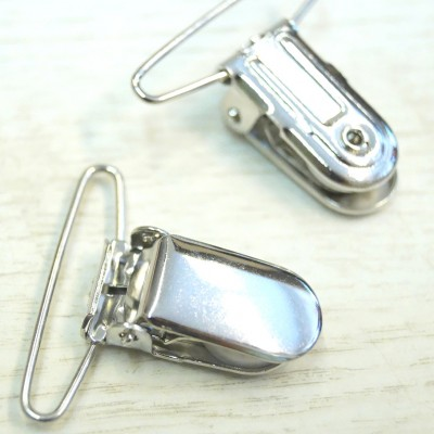 Union Knopf Hosenträger Clip silber, 36mm