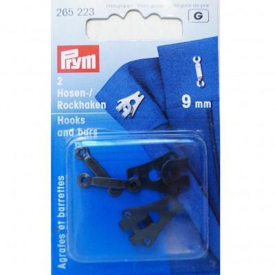Prym 2 Hosen-/Rockhaken 9mm, schwarz