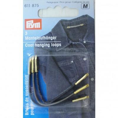 Prym 3 Mantelaufhänger Lederband, schwarz/braun/grau