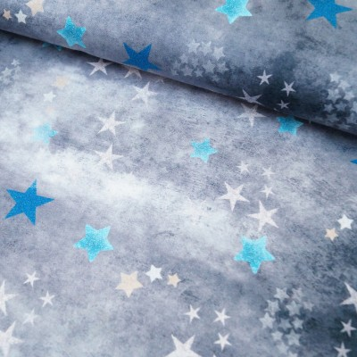 "Reststück 85cmx150cm - Hilco ""Trouble Star"" grau Shibori-Look"
