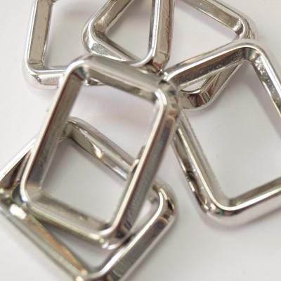 Metall-Rechteck silber glänzend 25mm