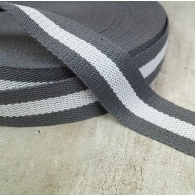 Gurtband 40mm - grau-weiss - zweifarbig