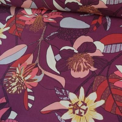 Dekostoff / Canvas Flowers berry