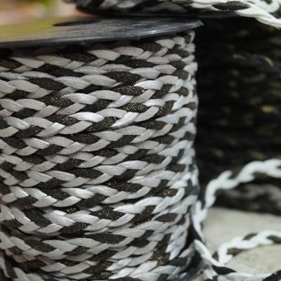 Geflochtenes Lederband / Kordel - grau-glitzer