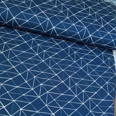 Baumwolljersey Geometrie - dunkelblau