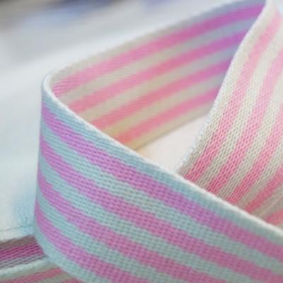 Gurtband Baumwolle 38mm breit - rosa-weiss