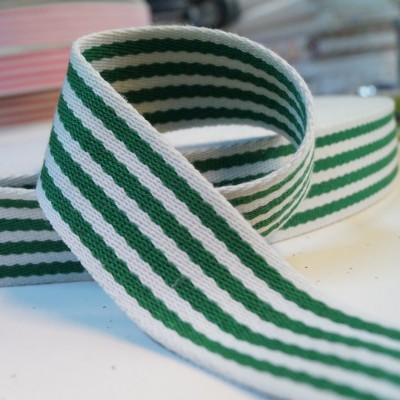 Gurtband Baumwolle 38mm breit - grün-weiss