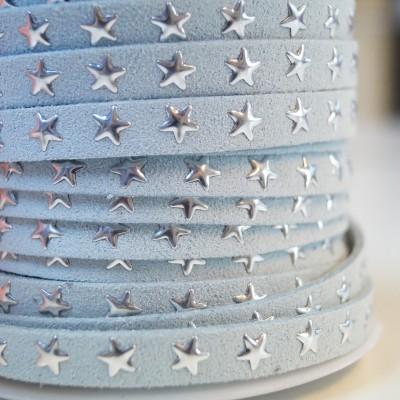 Lederimitat Bändchen mit Nietensternen - hellblau