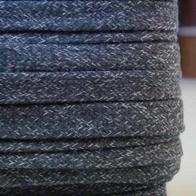 Flache Baumwoll-Kordel - 1.5cm breit - grau meliert