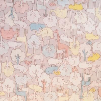 Kokka Double Gauze - Elefant Giraffe und Bäumchen