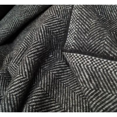 Mantel Wollstoff - Fischgrat - dunkelbraun
