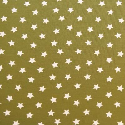 Reststück 1mx1,50m - Jersey mit kleinen weissen Sternchen auf grünem Grund