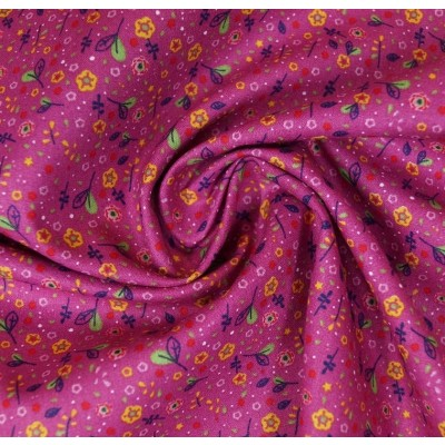 Baumwollstoff Streublümchen pink