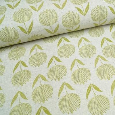 Leinenmix-Canvas Blütenpracht grün