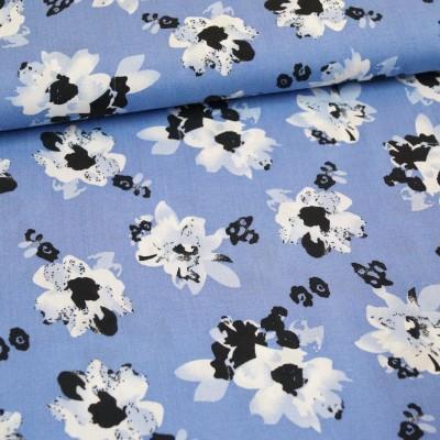 Viskosedruck Blumen jeansblau