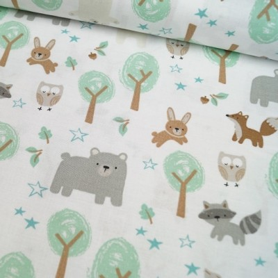 Reststück 65cmx110cm - 3 Wishes Fabrics - Woodlands - Friends