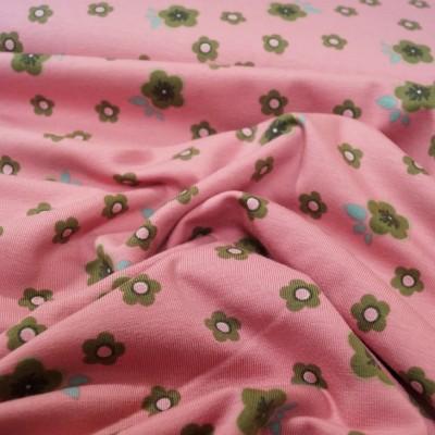 Reststück 98cmx150cm - Stenzo Jersey mit kleinen Blumen - altrosa