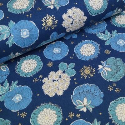 Leinenmix-Canvas Flowerdots - dunkelblau - metallic
