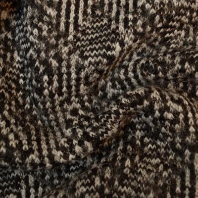 Reststück 58cmx150cm - Dicker Wollstrick - schwarz-grau - 75% Schurwolle
