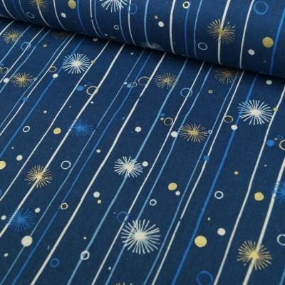 Leinenmix-Canvas Starstripes - dunkelblau - metallic