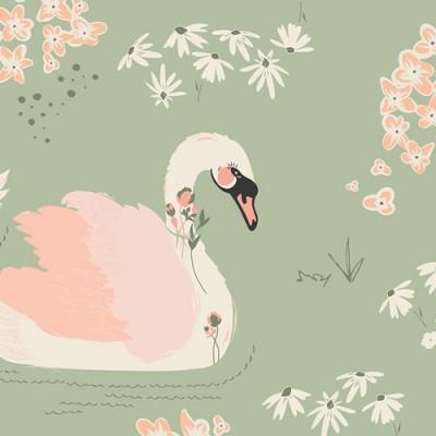 "Art Gallery - Hello, Ollie - ""Dabbling Swan Sage"" by Bonnie Christine"