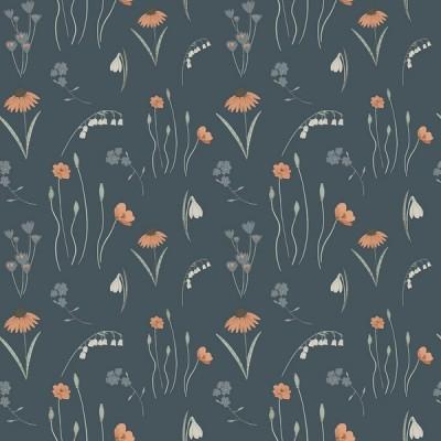 RJR Fabrics - Pond Life - Mini Meadow - navy