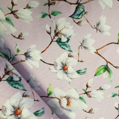 Dekostoff / Canvas Magnolien - rose