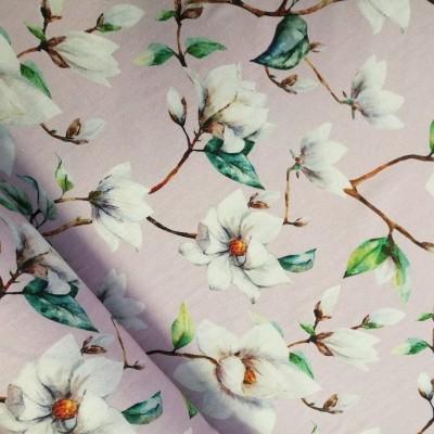 Reststück 1,44mx1,40m - Dekostoff / Canvas Magnolien - rose