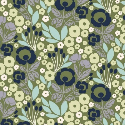 Cotton and Steel - Penny Cress Garden - Agnes - wishful green