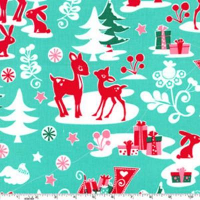 """Reststück 19cmx112cm - Michael Miller """"Yule Critters"""" Weihnachtsstoff türkis"""